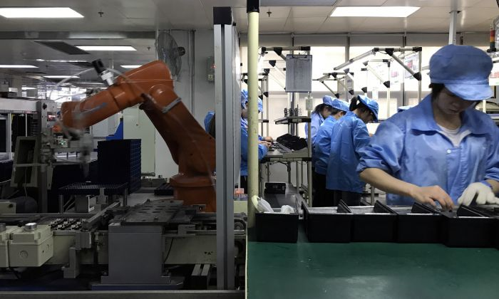 Human and robotic workers in the Rapoo factory, Shenzhen (2017). Photo: Merve Bedir