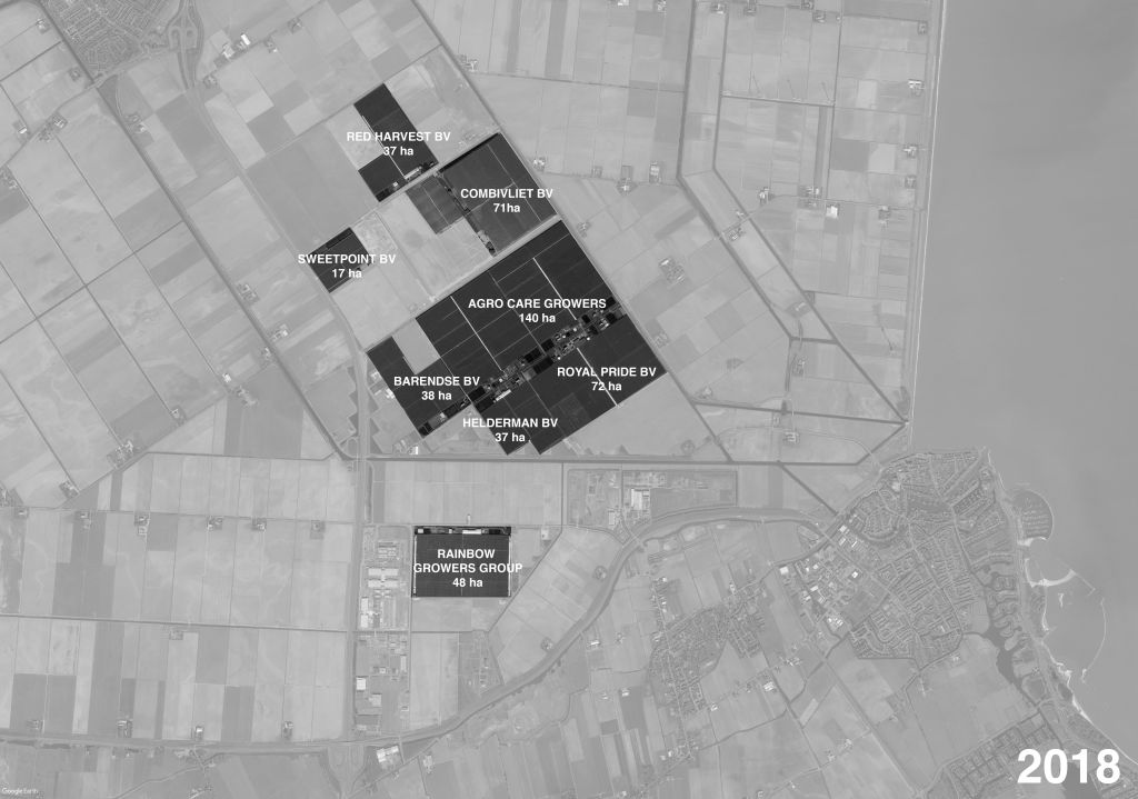 On the agropark Agriport A7, plot sizes are significantly larger than in greenhouse clusters such as Westland, hence the multiplication of the dimensions of greenhouses and, as a consequence, an increasing concentration of capital; on land that is now privatised.