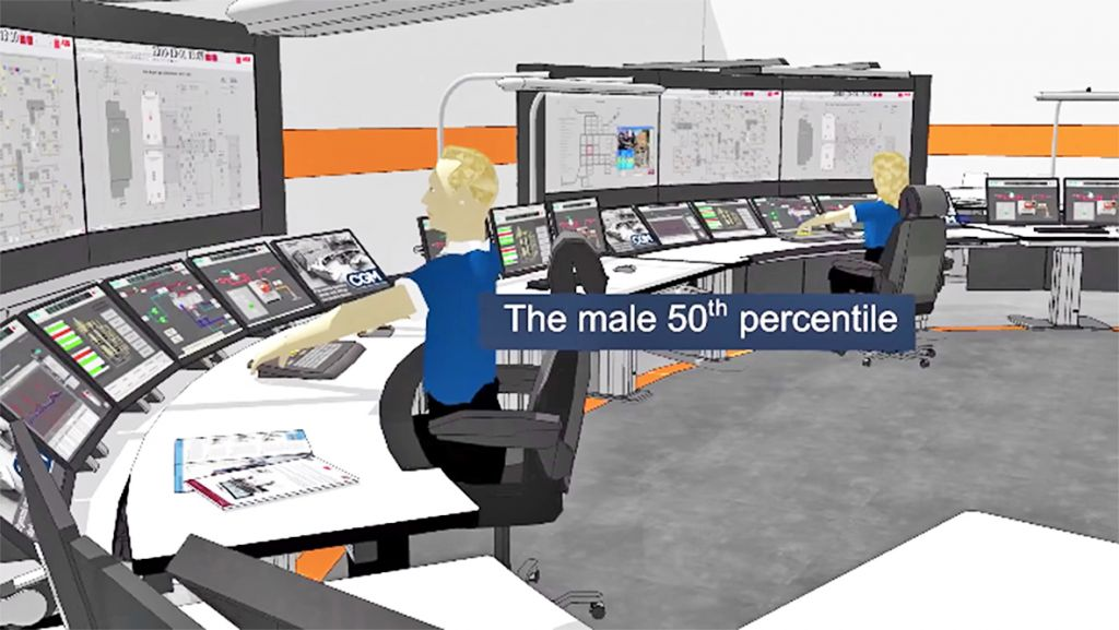 In 2015 ABB became the sole shareholder of CGM, a Swedish company specialised in modern control room design and ergonomic solutions for maximum control room operator effectiveness. CGM's Ergo plug-in is still offered by ABB as part of its control room design software tools. It is a Sketchup add-on that allows you to bring four different anthropmetric mannequins into a 3D environment to test ergonomics and sight lines in a virtual control room. Image: Pierre Schäring/YouTube